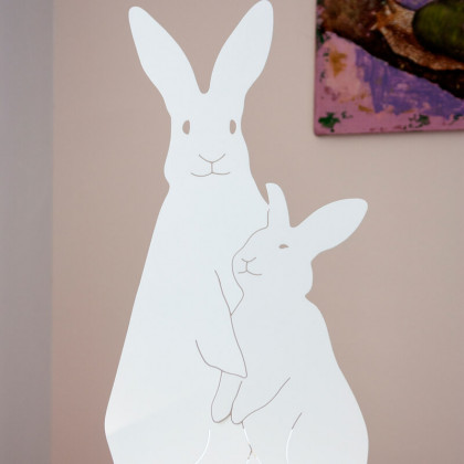 Goodnight Light Decoupage Lamp Bunnies