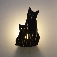 Goodnight Light Decoupage Lamp Kitties
